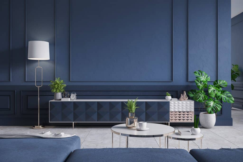 A dark blue colored living room with indoor plants and a blue colored cabinet