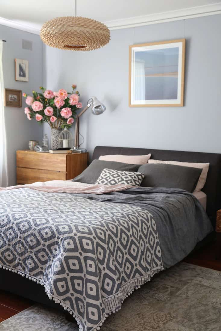A gray colored bedroom with a gray colored bedding set