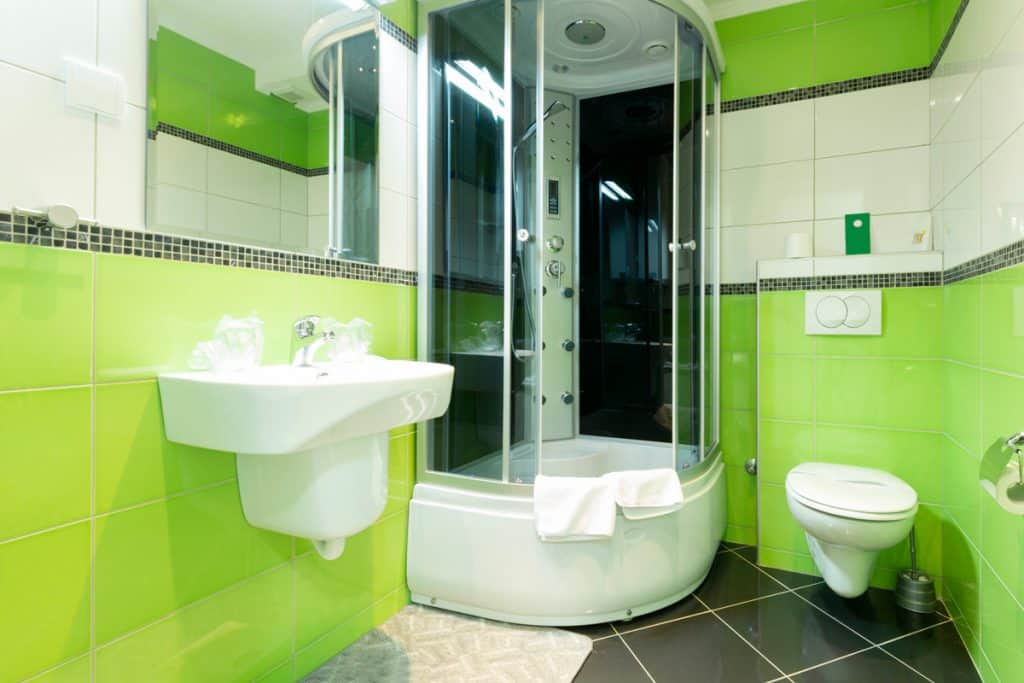 A green themed bathroom with a corner shower area and a bathtub on the side
