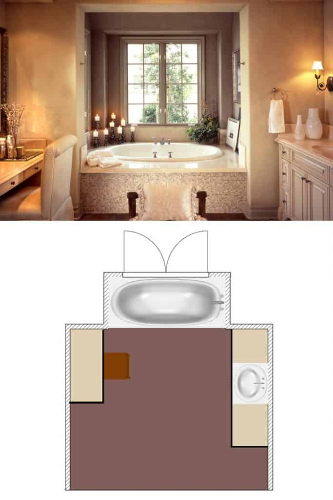 A large bathroom with beige colored walls and a fitted bathtub on the corner