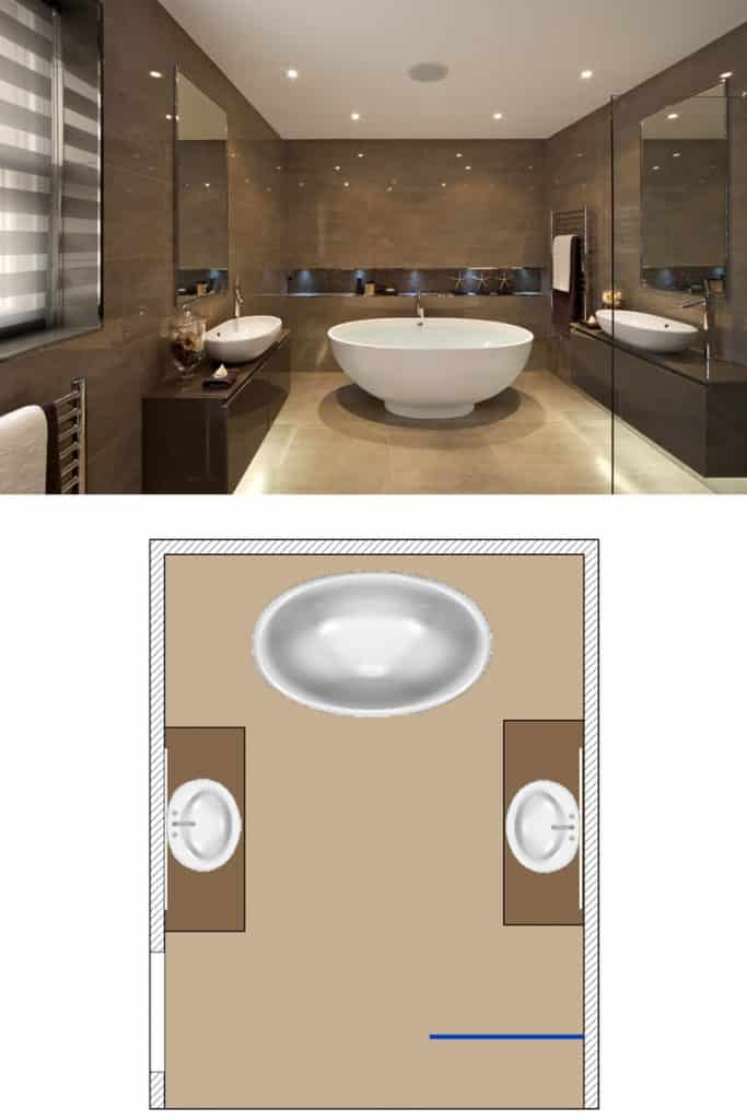 A large brown colored bathroom with a huge bathtub and two washbasins on each side