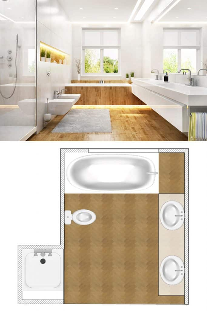 A large white colored bathroom with a wooden flooring and a large washbasin and a huge mirror