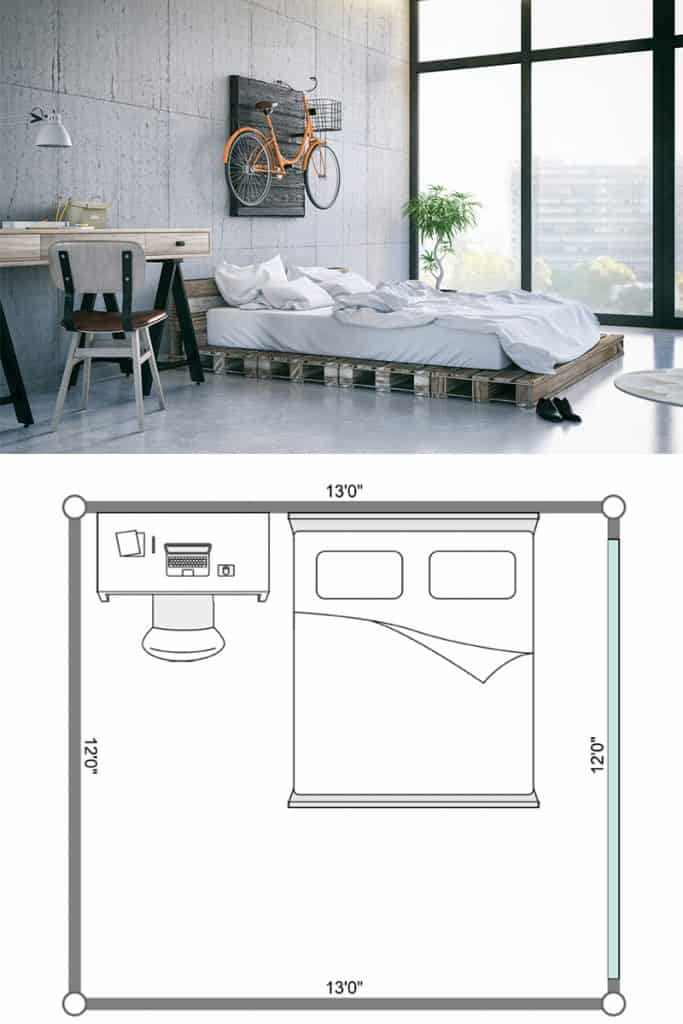 A modern bedroom at a condominium unit and a desk on the side