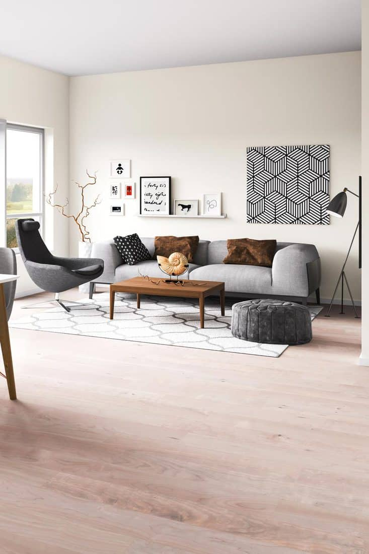 A modern living room with a gray couch and an accent chair with wooden flooring