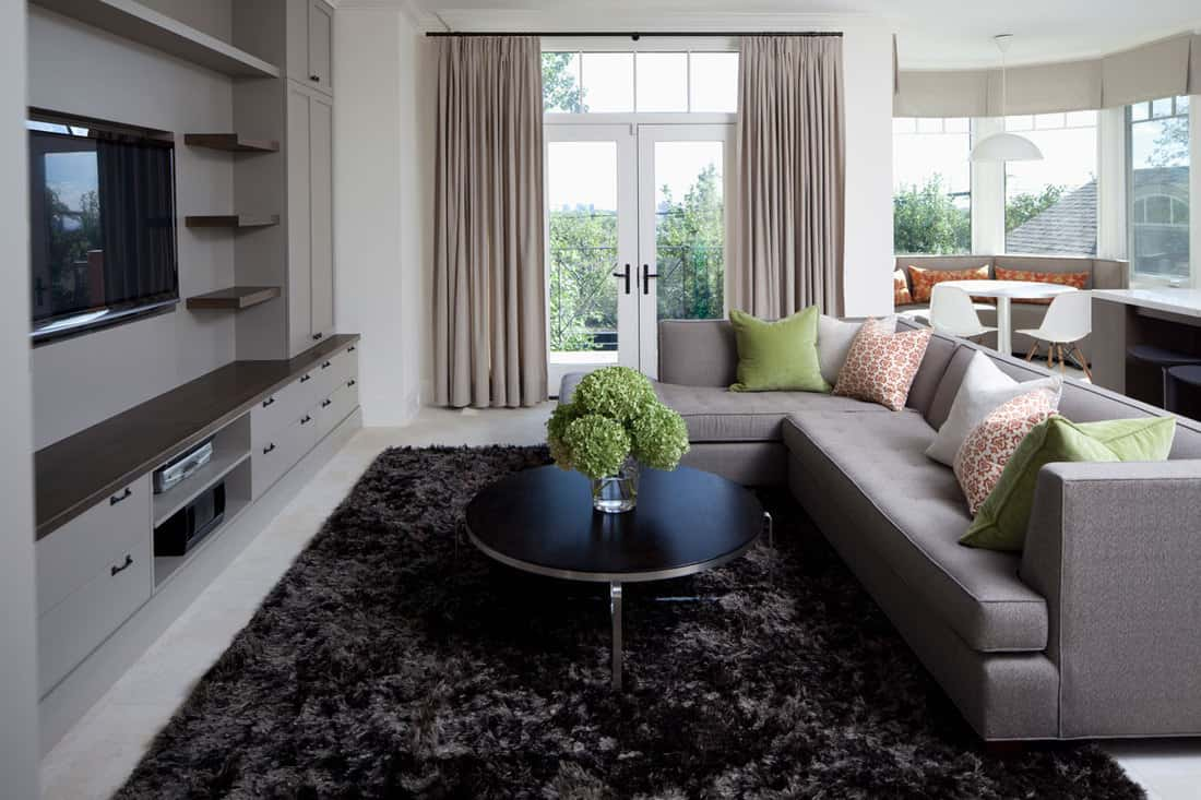 A modern living room with a gray sofa and a black fur rug