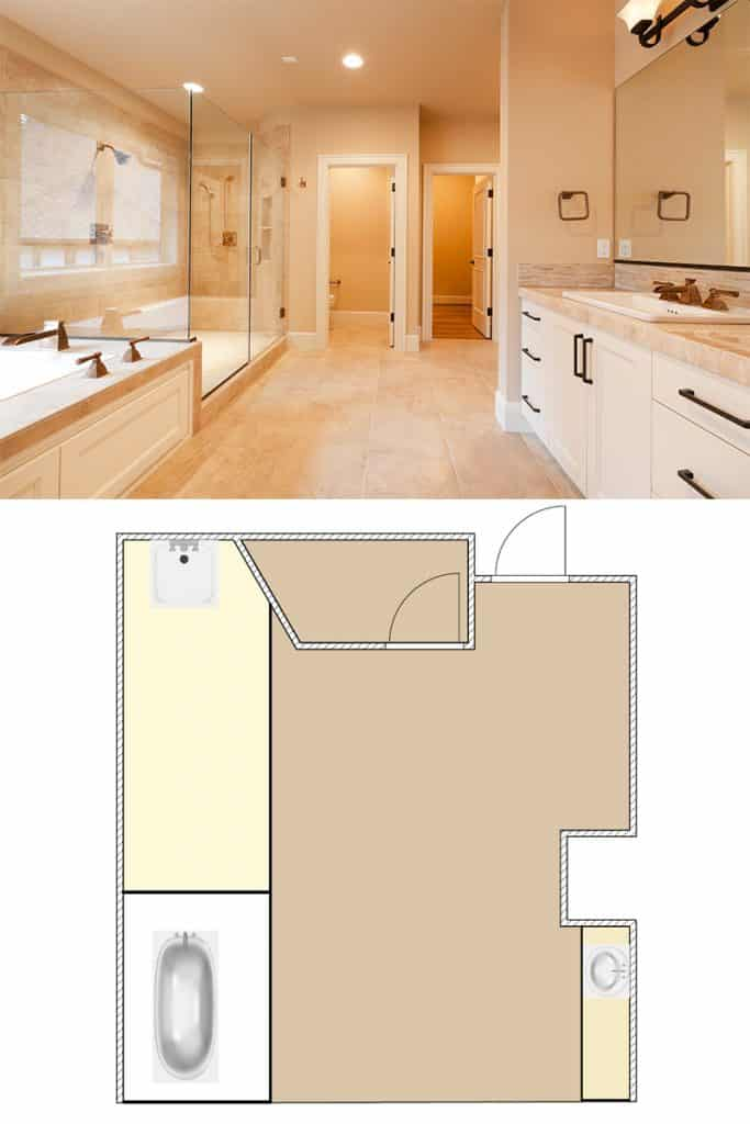 A very large bathroom with a glass walled shower and a washbasin with cabinets