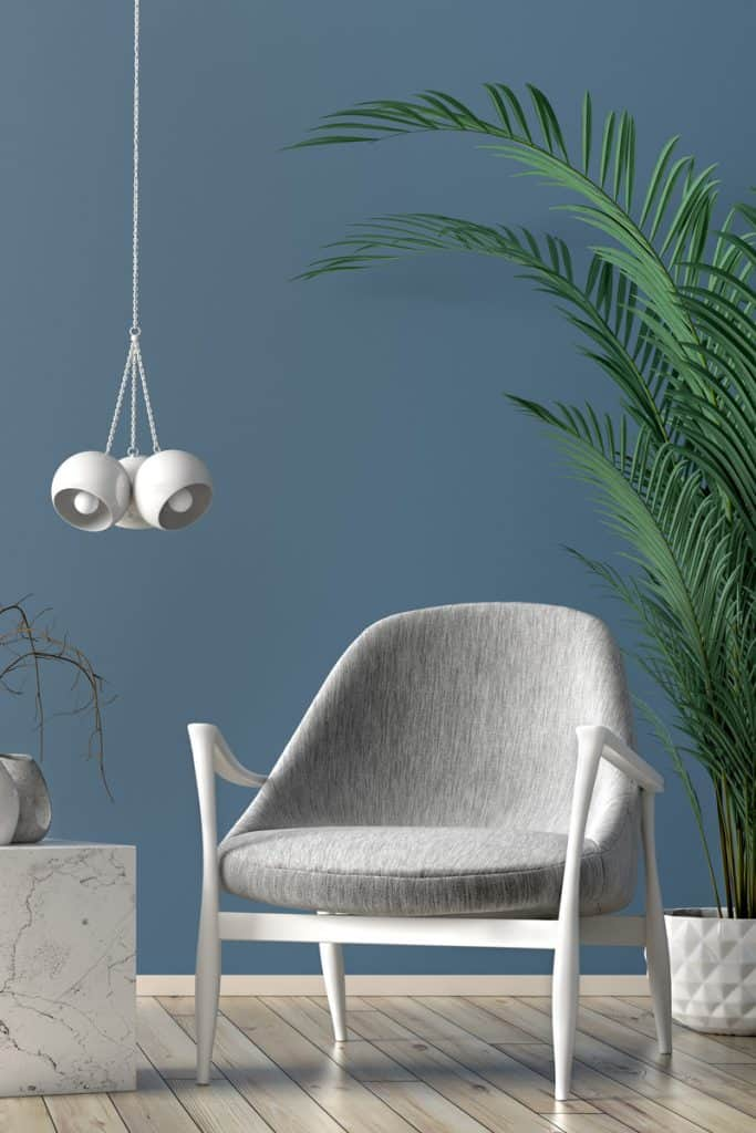A white chair and a white hanging lamp with an indoor palm tree