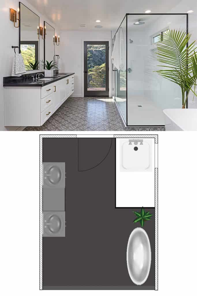 A white walled bathroom, a glass walled shower area, and two large mirror