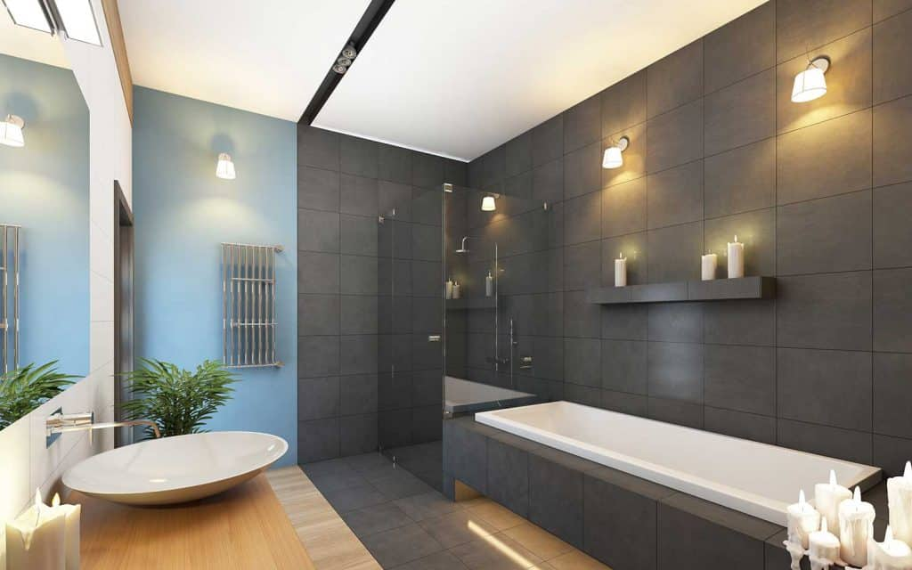 Bathroom in gray and blue colors with bathtub and shower