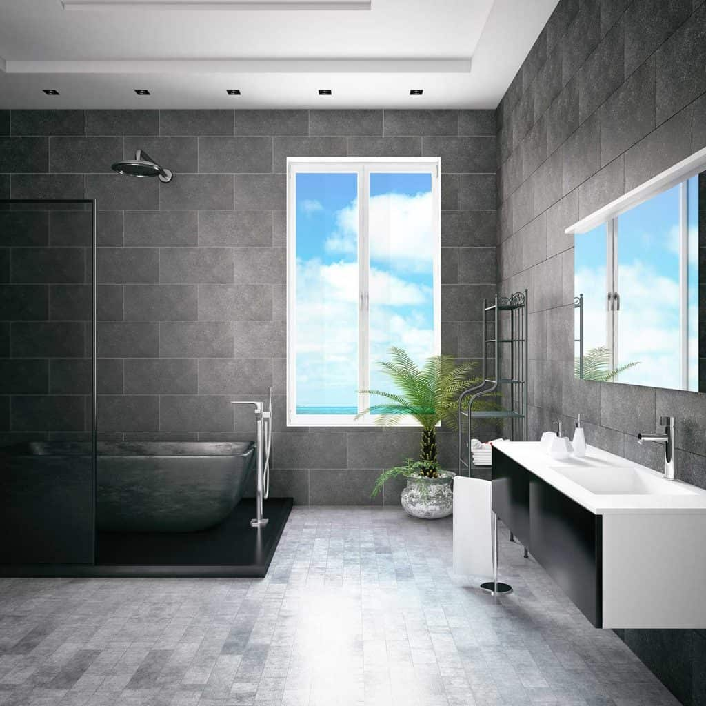 Bathtub in the modern bathroom interior