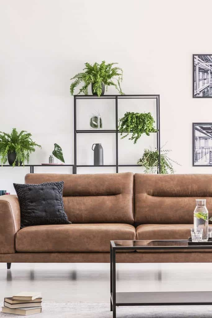 Books on the floor in living room interior with modern brown sofa, metal shelf with plants in pots and industrial posters on the wall
