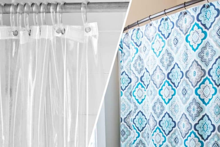 Collage of a shower liner and a shower curtain, Shower Liner vs. Shower Curtain: What's The Difference?