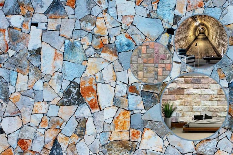 Collage of a stone-effect wall murals with multi-colored stone wall on the background