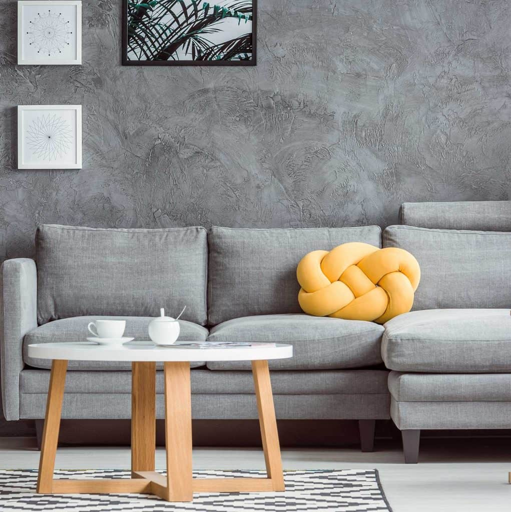 Contemporary design of cozy grey living room interior with sofa and coffee table