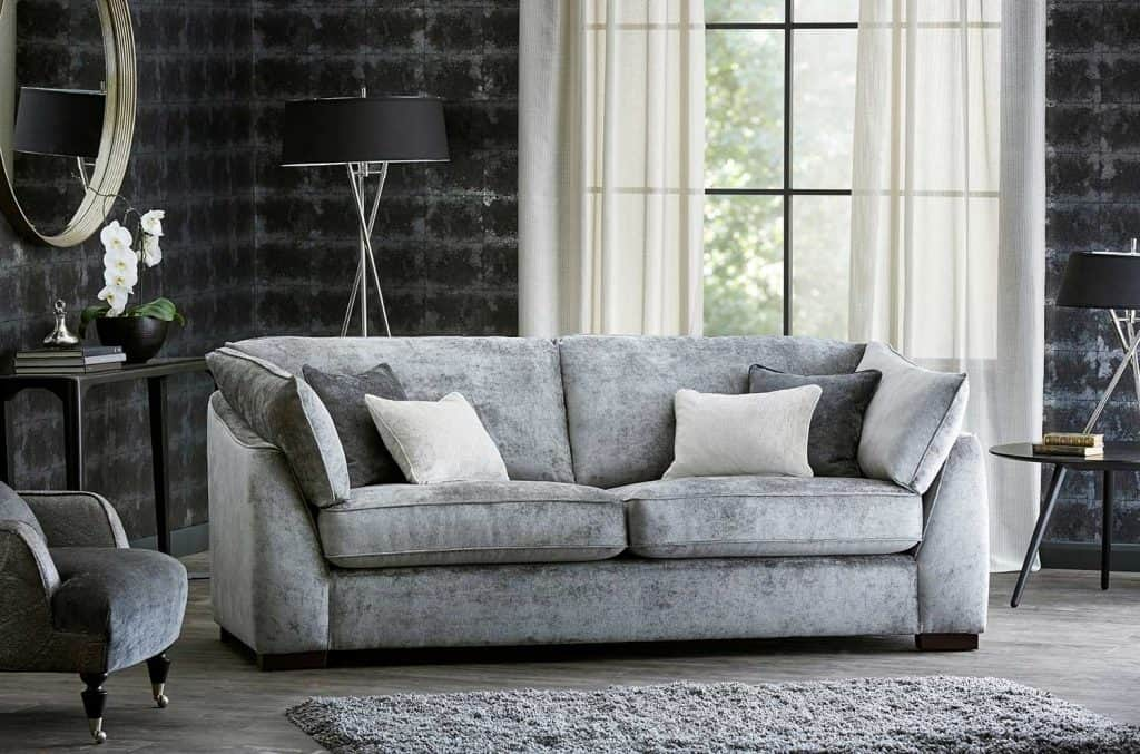 Contemporary living room with comfortable gray sofa