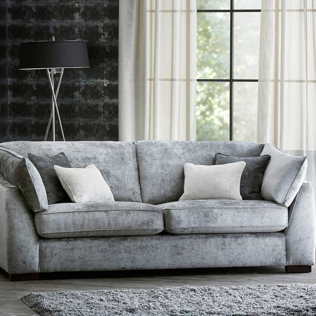 Contemporary living room with comfortable grey sofa