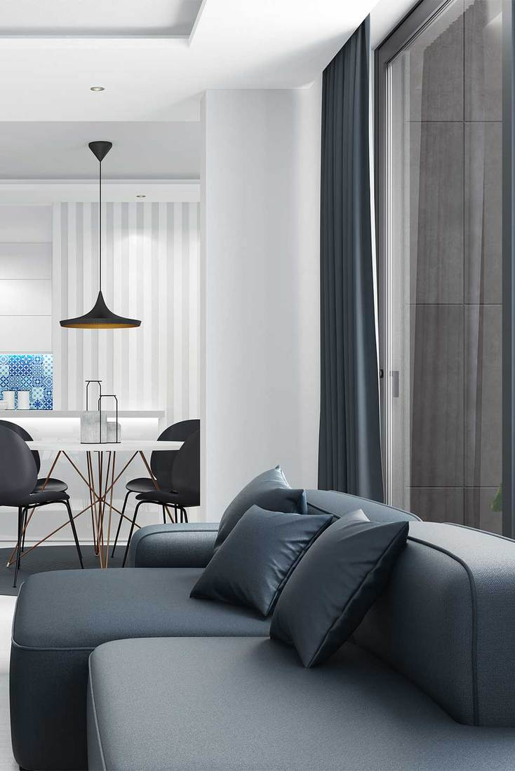Cozy and bright Scandinavian style modern apartment with dark grey sofa