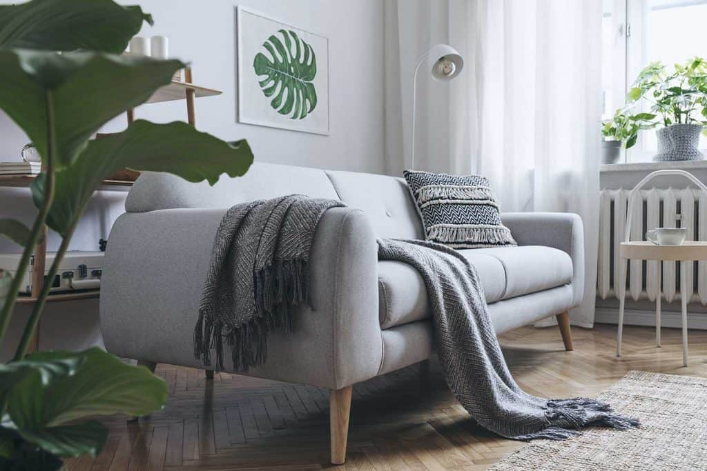 Cozy living room interior with gray sofa in scandinavian style and painted monstera leaf in frame on wall