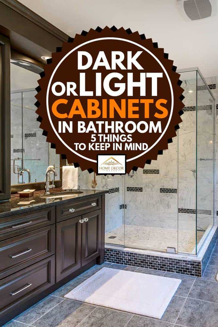 Elegant bathroom with Tub and plexiglass shower. with dark cabinet, Dark or Light Cabinets in Bathroom? [5 Tips to Keep in Mind]