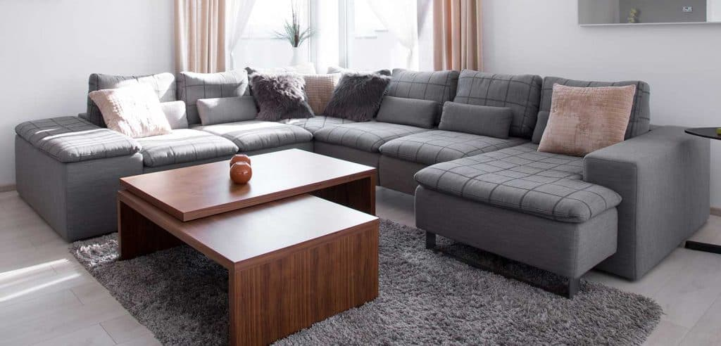 Designed corner sofa and coffee table