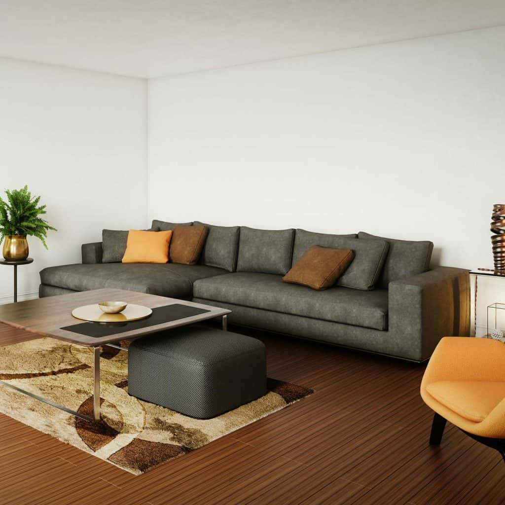 Elegant and modern living room interior design with high quality furniture sets and grey sofa