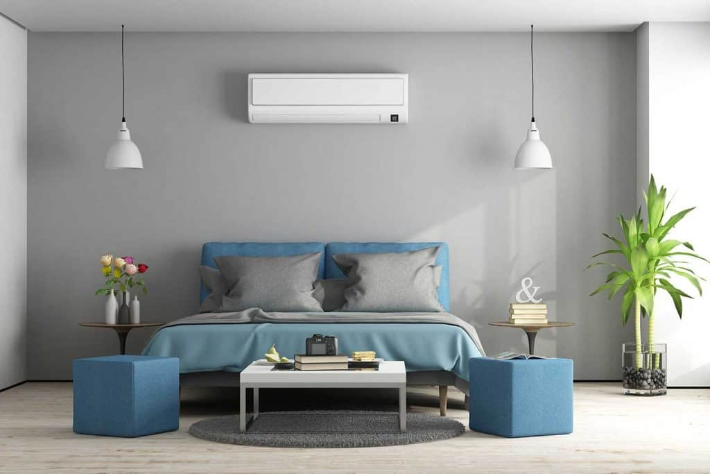 Gray and blue modern master bedroom with furniture and air conditioner