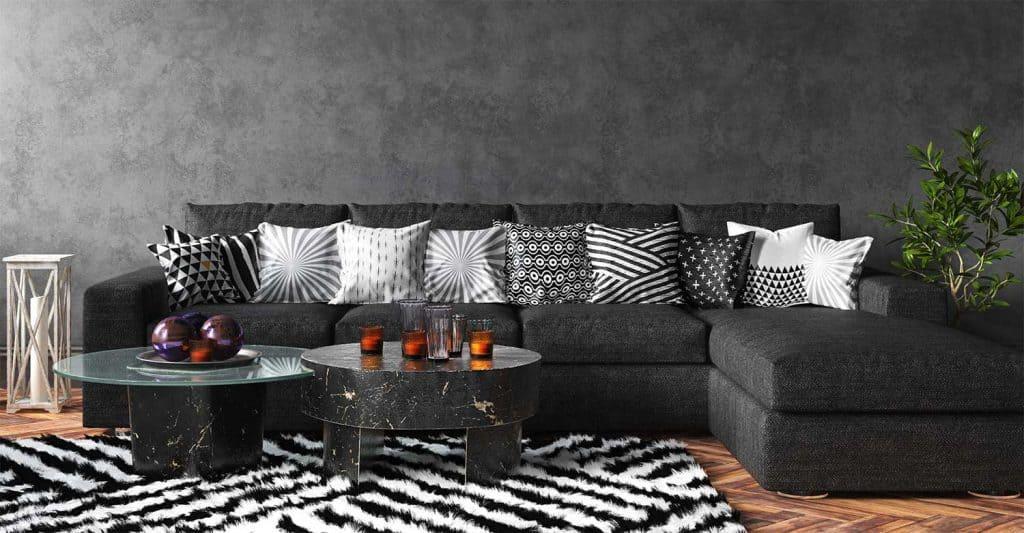 Home interior black stylish loft living room with sofa and decor