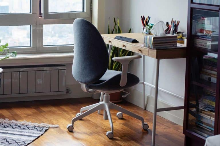 Home office with office chair and desk, How To Clean An Office Chair [5 Easy Steps]