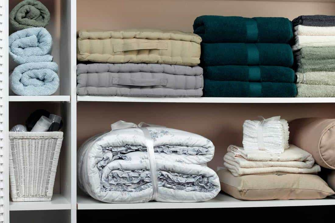 Different colored linen Closet