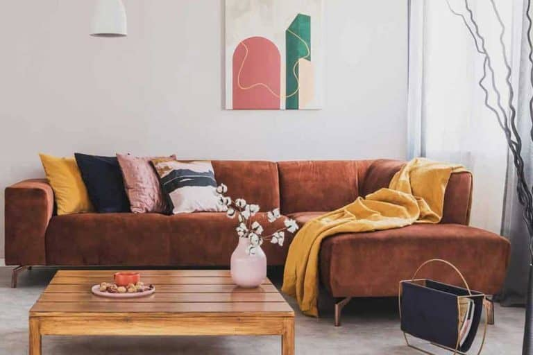 Living room interior with brown corner sofa with pillows, blanket and abstract poster on the wall, What Color Walls Goes Best With Brown Sofa? [25 Suggestions with PICTURES]