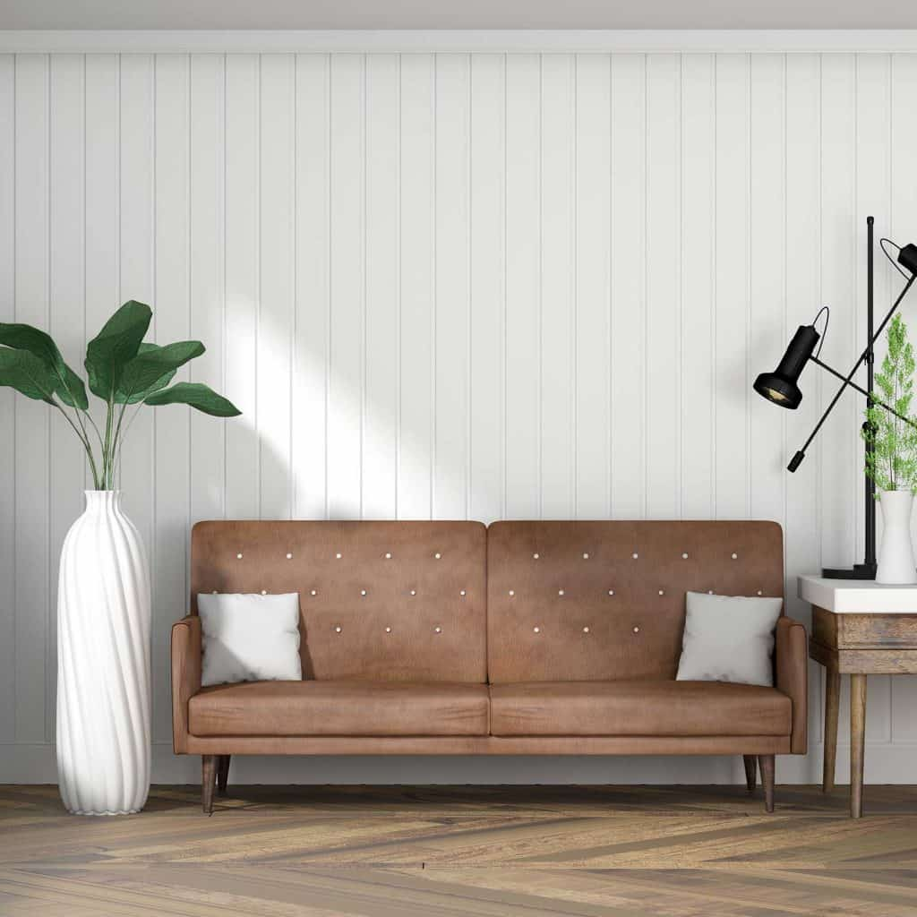 Living room with white wall and leather sofa