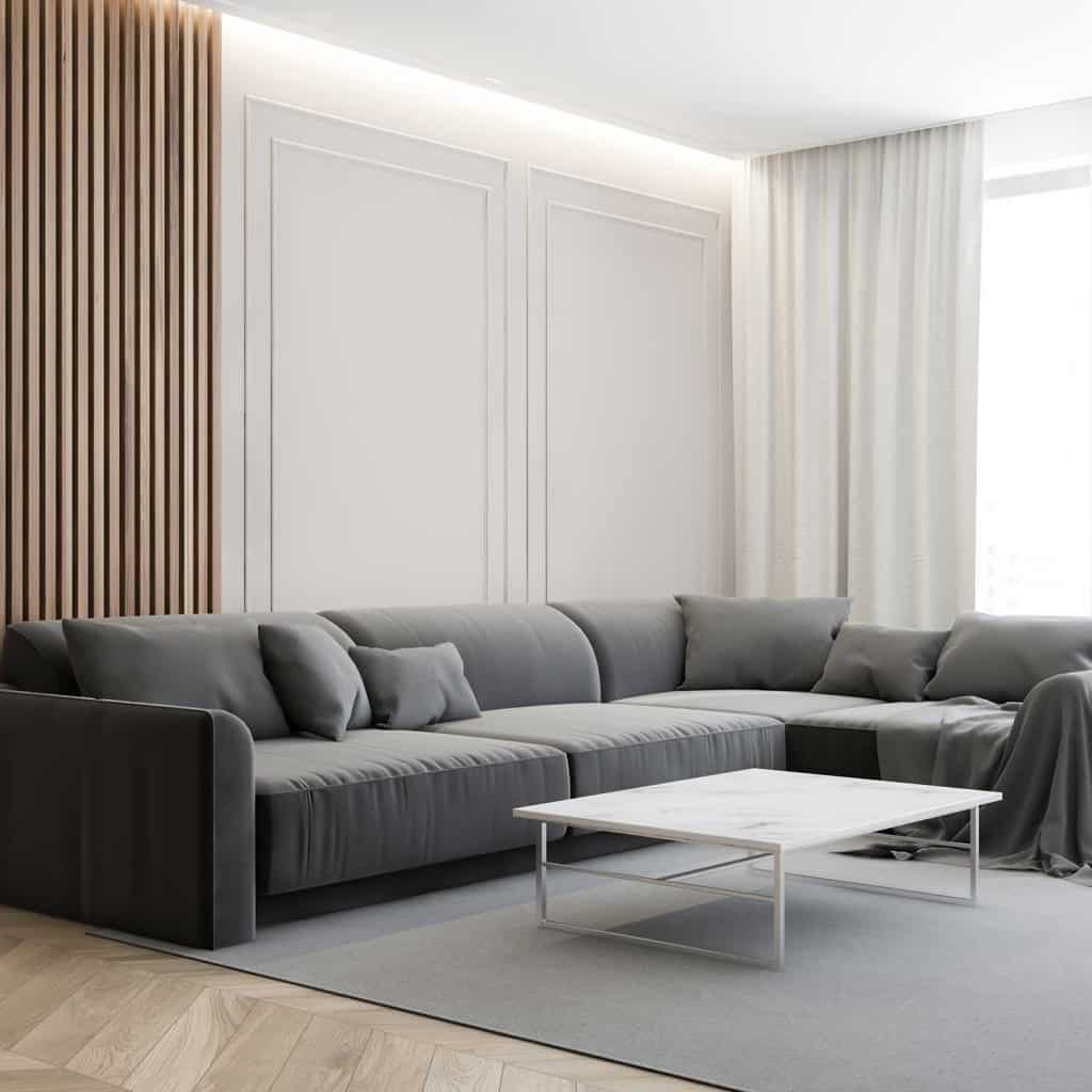Luxury living room corner with sofa and table