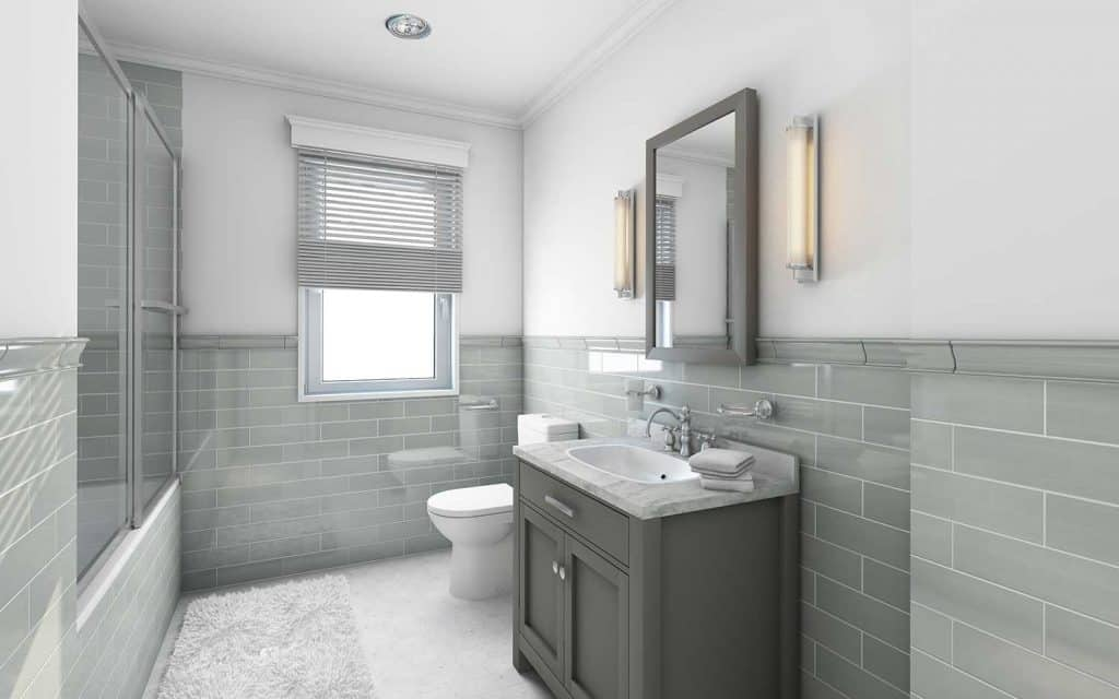 Modern bathroom in country house with gray bathroom vanity