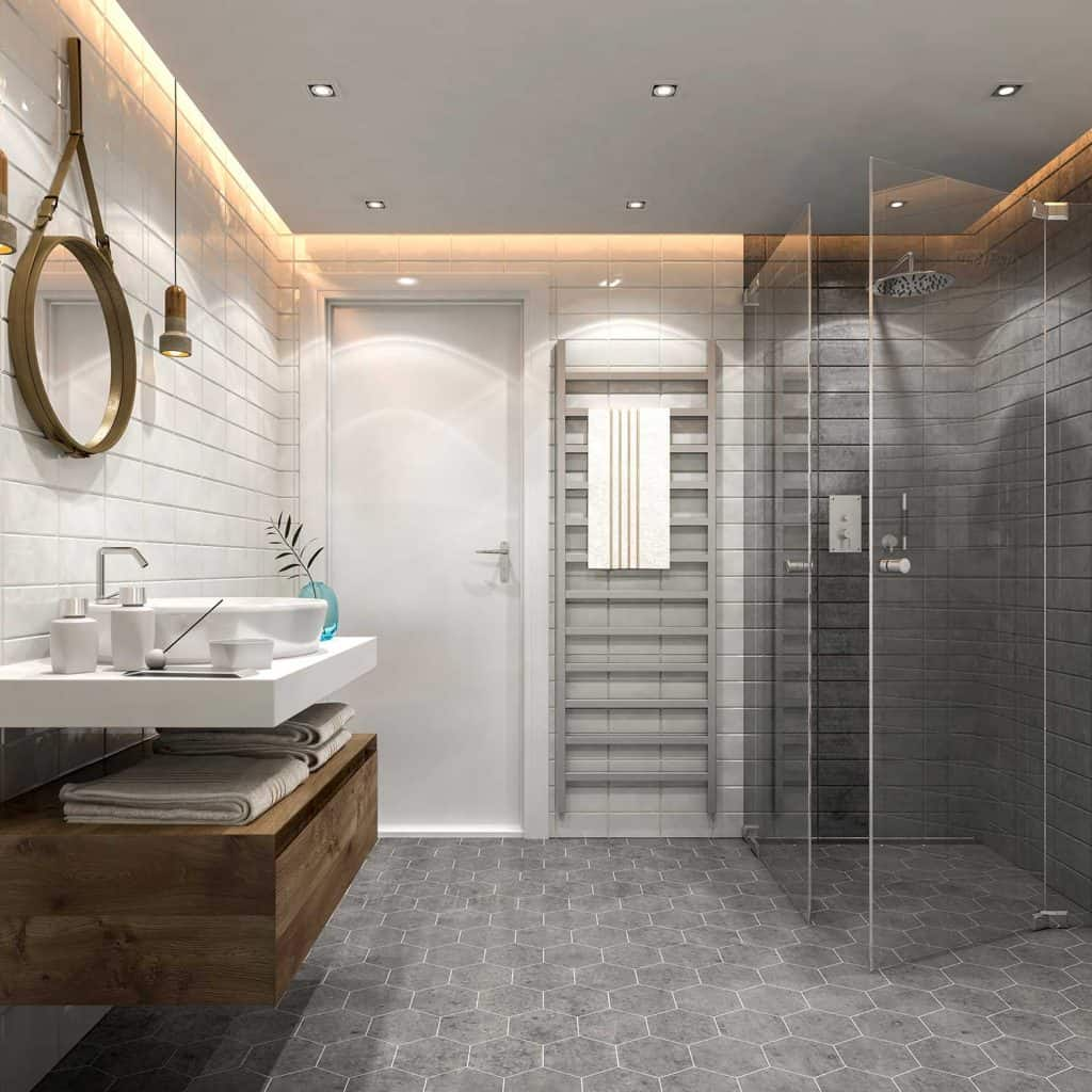 Modern bathroom interior with sink and shower with glass panels
