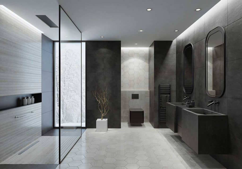 Modern bathroom with dark gray concrete tiles