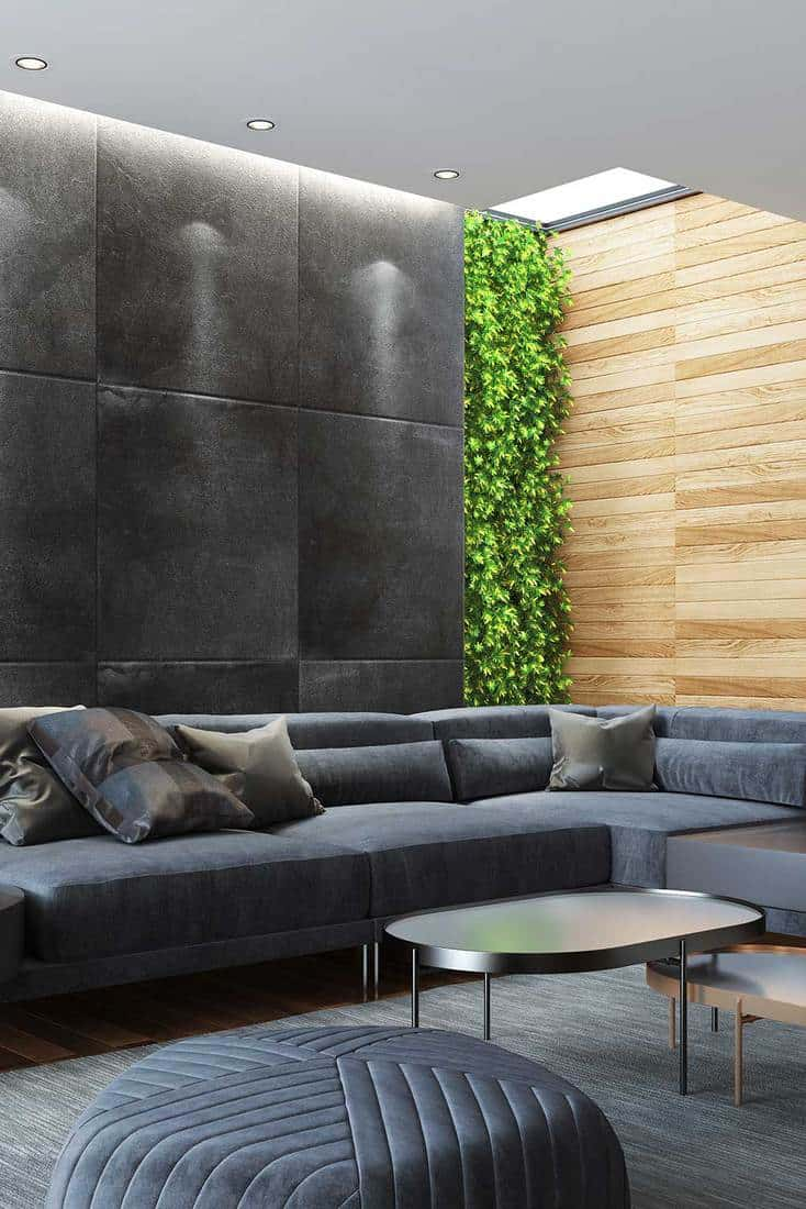 Modern country style luxury house living room with plant vertical wall