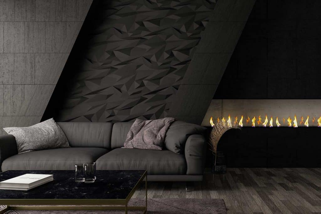 Modern dark gray living room interior with sofa and fireplace