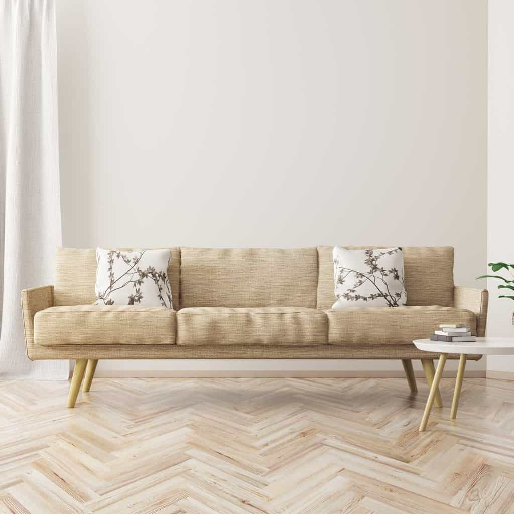 Modern interior design scandinavian style living room with beige sofa and coffee table