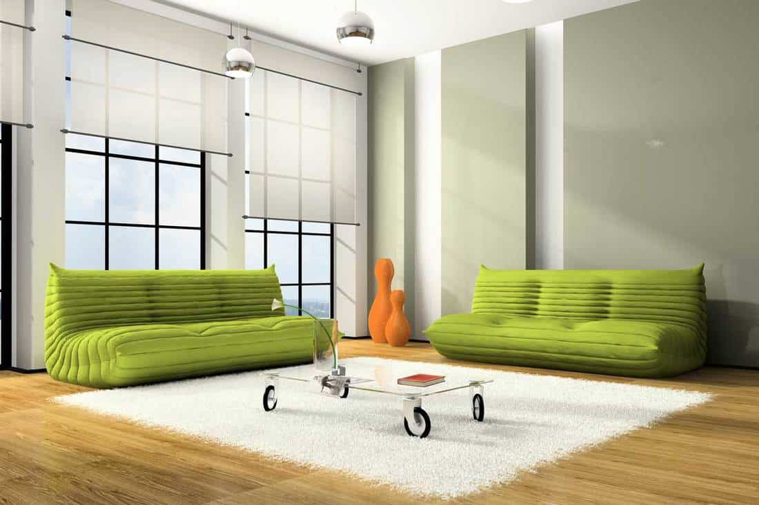 Modern interior with green sofas with white blinds, Should window blinds match wall color?