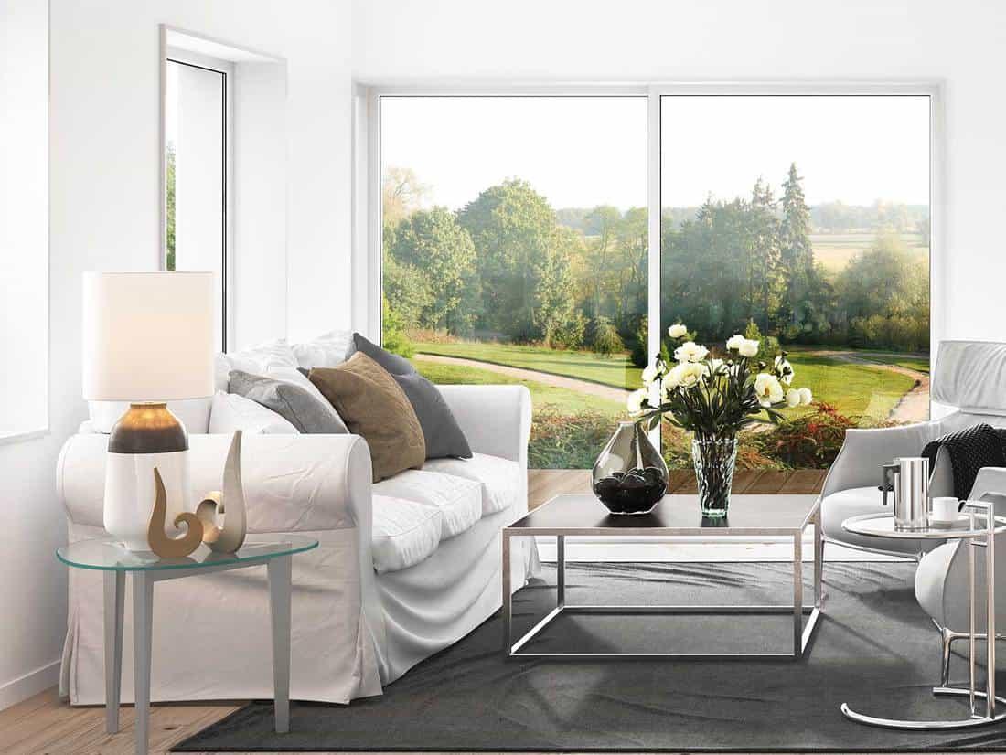 Modern living room with white sofa and dark gray carpet