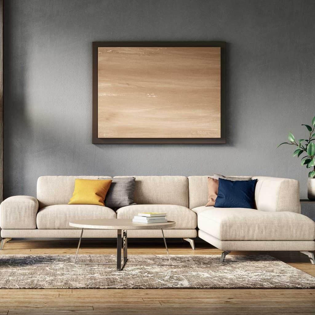 Scandinavian interior design living room beige sofa, hardwood floor and wooden frame on wall