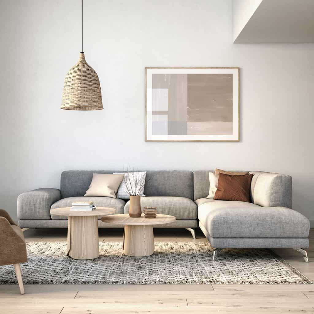 Scandinavian interior design living room with grey and beige colored furniture and wooden elements