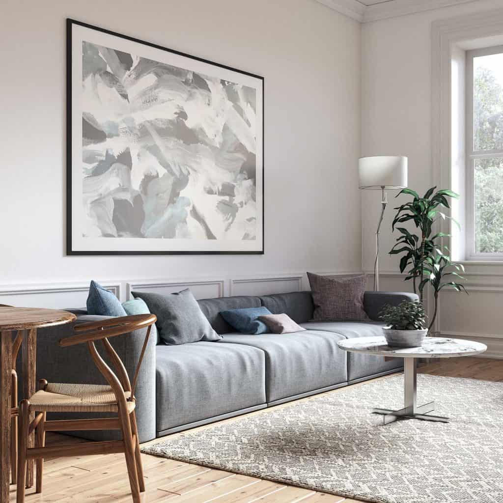 Scandinavian interior design living room with gray sofa and poster on wall
