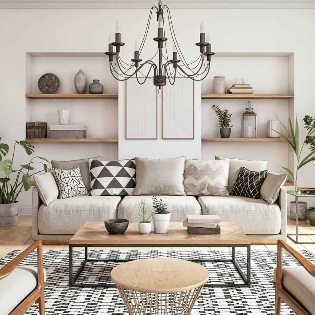 Scandinavian interior design living room with white wall, beige sofa and coffee table