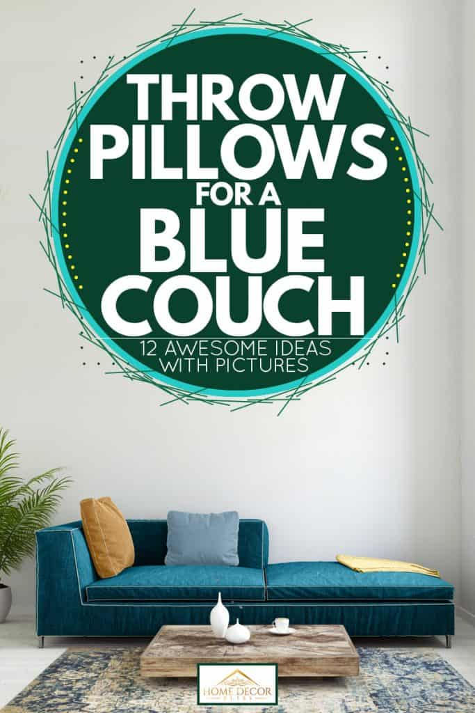 A white colored living room with a blue corner couch with throw pillows on top, Throw Pillows for a Blue Couch [12 Awesome Ideas with Pictures]