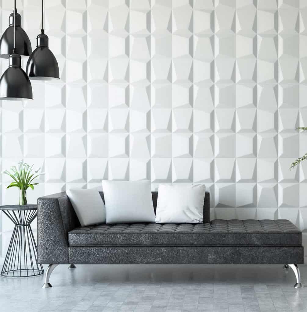 Waiting room with grey sofa
