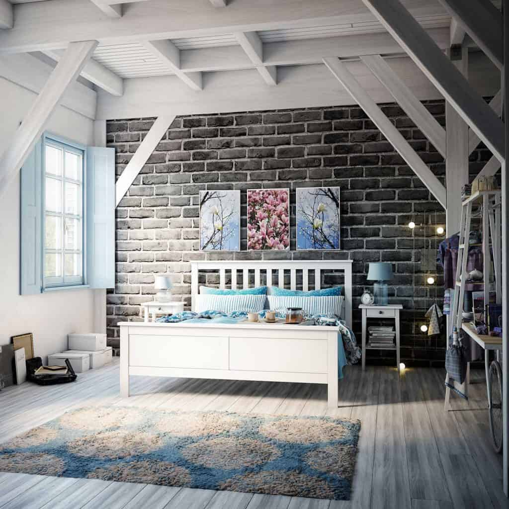 Warm and cozy bedroom interior with brick wall, hardwood floor and rustic elements
