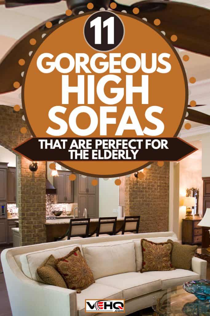 A luxurious living room with a white sleeper couch, 11 Gorgeous High Sofas That Are Perfect For the Elderly