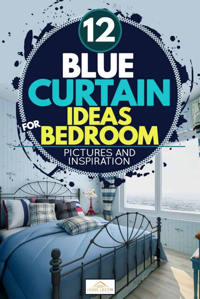 A blue themed bedroom with a blue bed and a striped blue curtain, 12 Blue Curtain Ideas for Bedroom [Pictures and Inspiration]