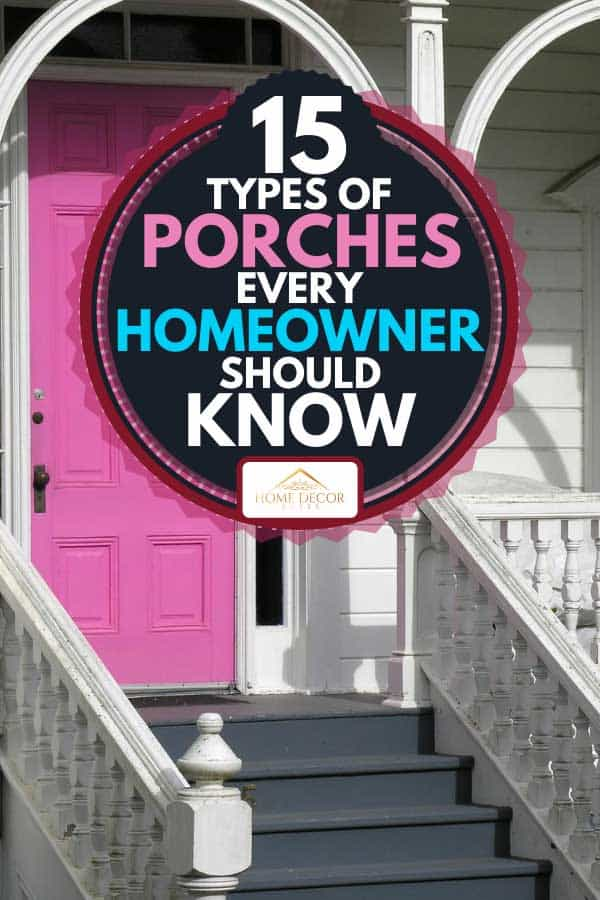Pink front door on white Victorian house, 15 Types of Porches Every Homeowner Should Know